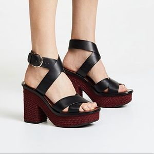 Joie Black Leather Tanglee Sandals w/ Red Heels